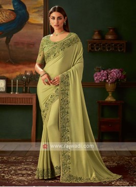 Mehndi green chiffon silk saree