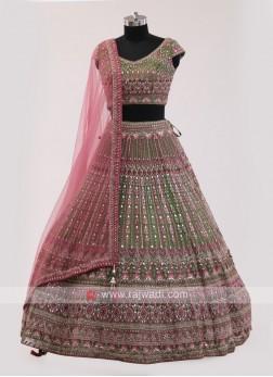 Mehndi Green Choli Suit