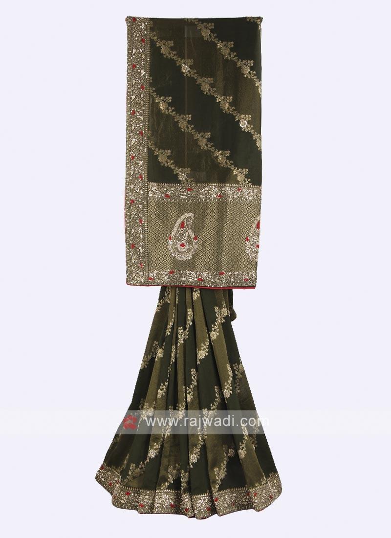 Mehndi green color banarasi silk saree