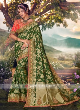 Mehndi Green Color Banarasi Silk Saree
