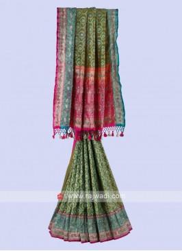 Mehndi Green Color Banarasi Silk Saree.