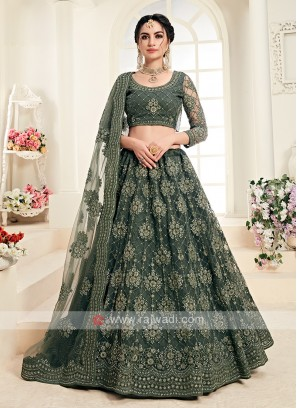 mehndi green color lehenga choli