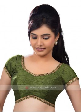 Mehndi Green Color Ready Blouse