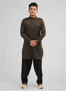 Mehndi Green Color Satin Silk Pathani Suit