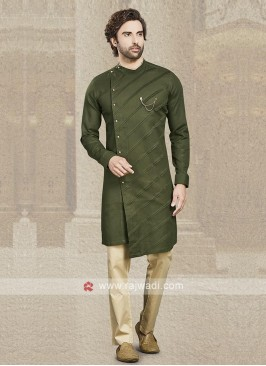 Mehndi Green Cotton Kurta Pajama