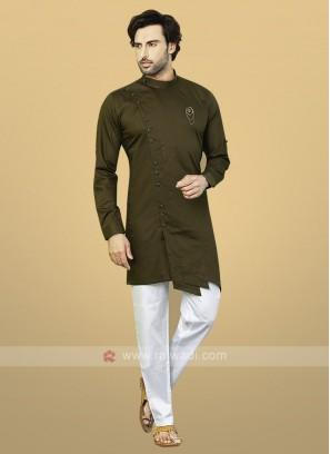 Mehndi Green Cotton Kurta Pajama