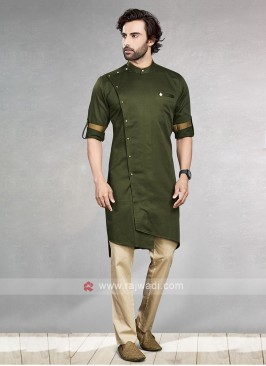 Mehndi Green & Cream Kurta Pajama For Men
