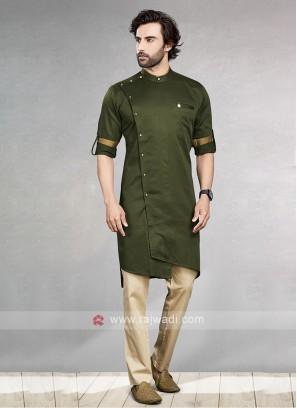 Mehndi Green & Cream Kurta Pajama For Men