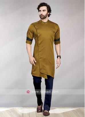 Golden Brown & Navy Kurta Pajama For Men