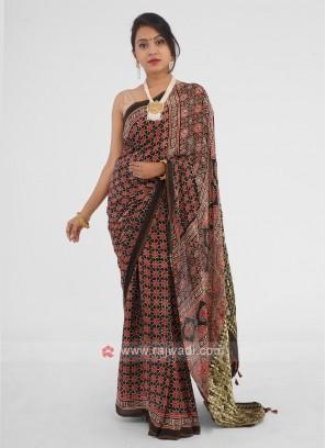 Mehndi Green Digital Printed Saree