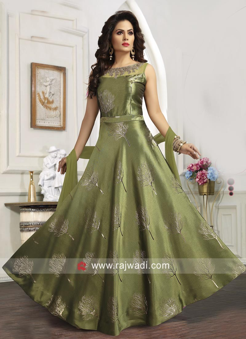 28dc30c14a Mehndi Green Embroidered Wedding Anarkali Suit. Hover to zoom