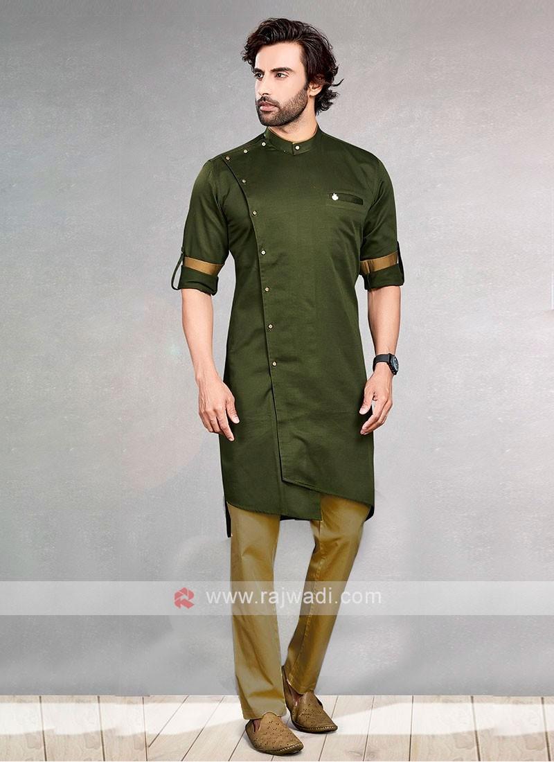 Mehndi And Olive Green Kurta Pajama For Men