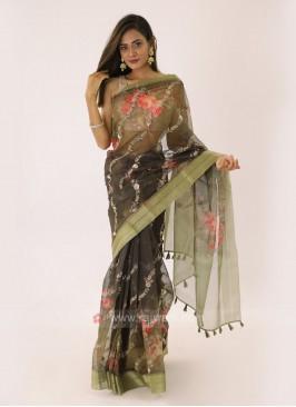 Mehndi Green Organza Saree