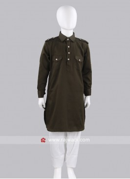 Mehndi Green Pathani For Boys