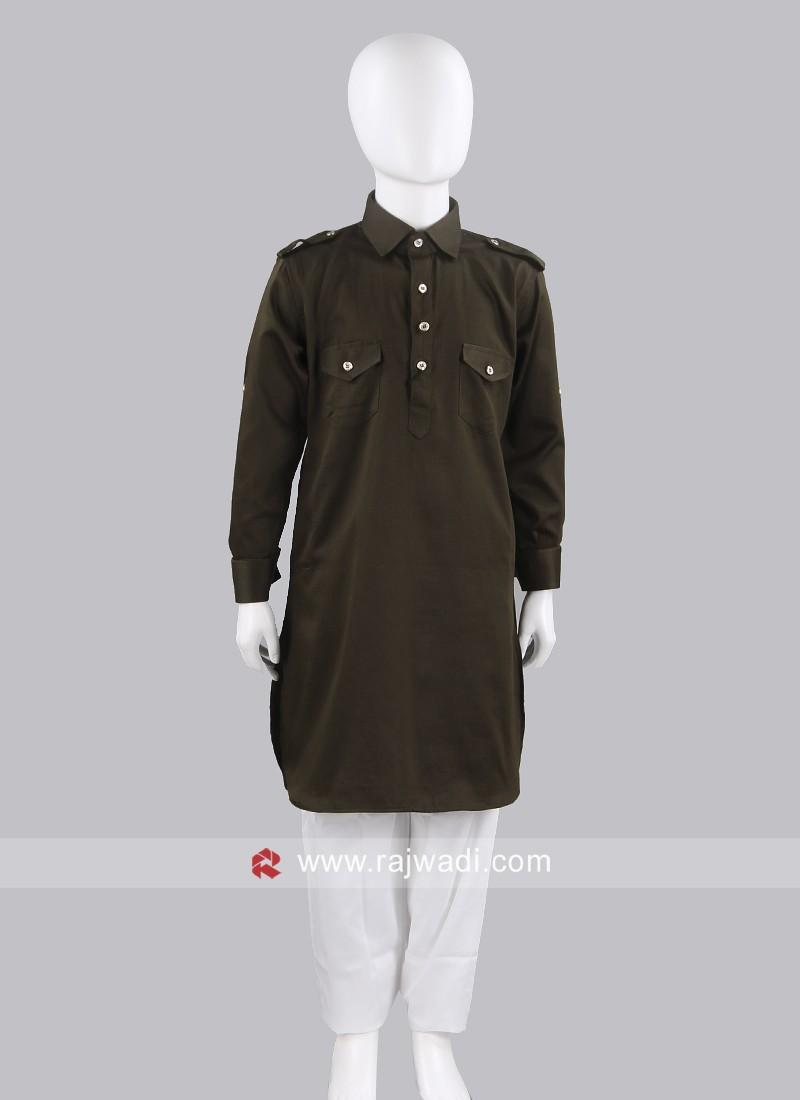 Mehndi Green Pathani For Boys