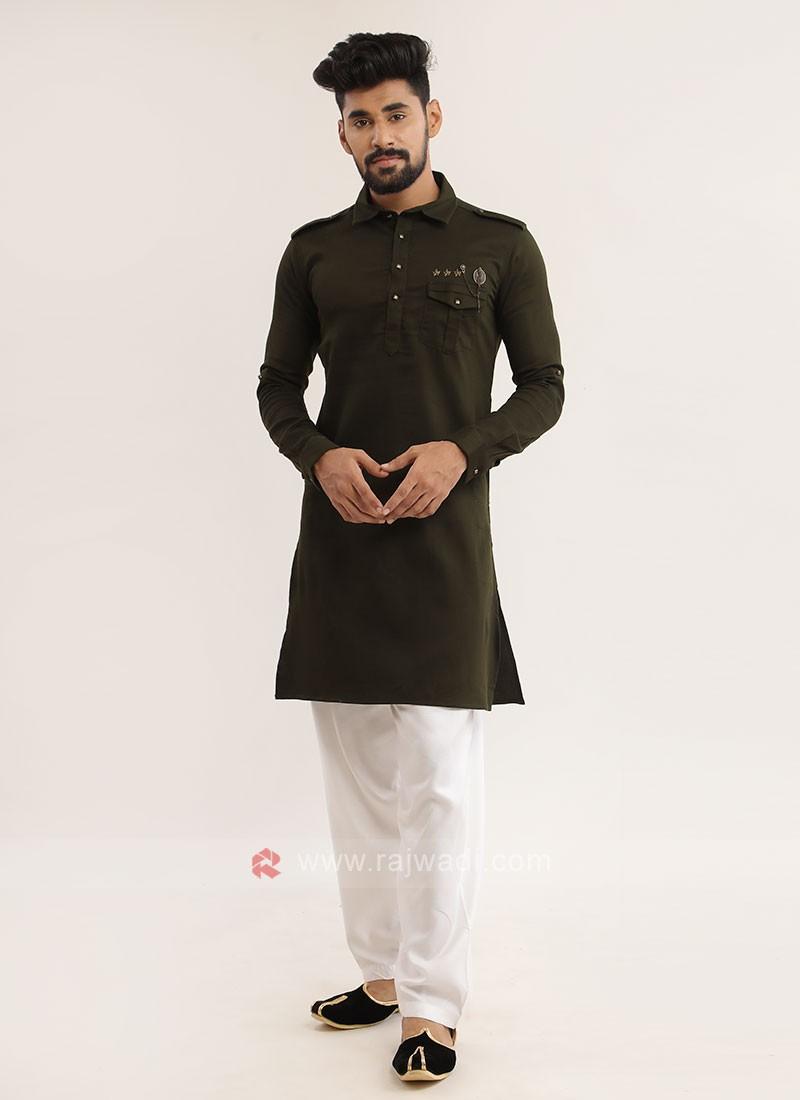 Mehndi Green Pathani Suit