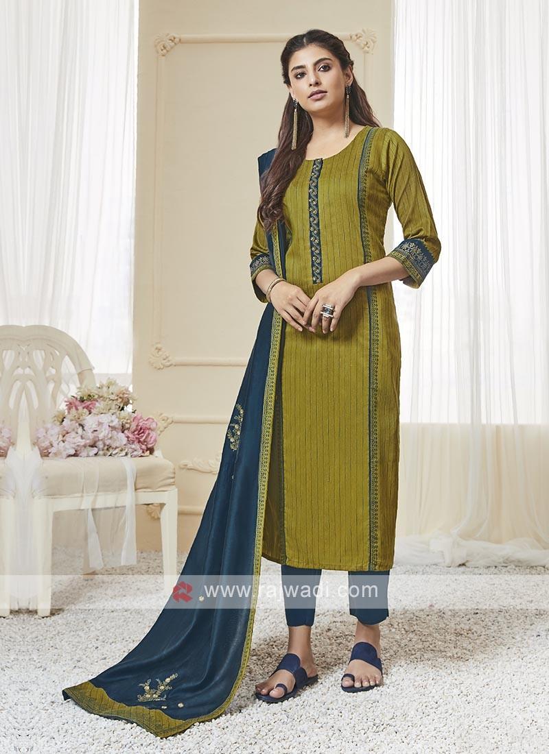 Shagufta Mehndi Green & Peacock Blue Color Pant Salwar Suit