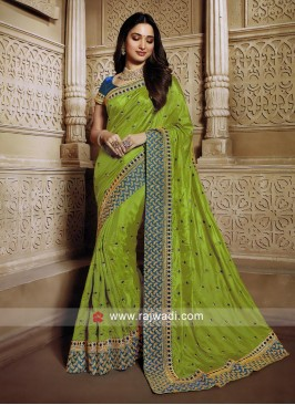 Mehndi Green saree with blouse