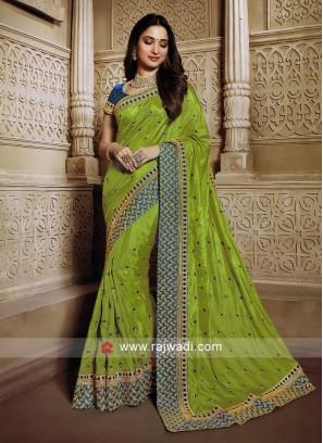 Mehndi Green saree with blouse