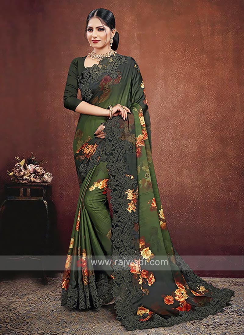 Mehndi Green Shaded Satin Georgette Saree