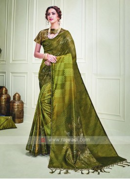 Mehndi Green Shaded Silk Saree