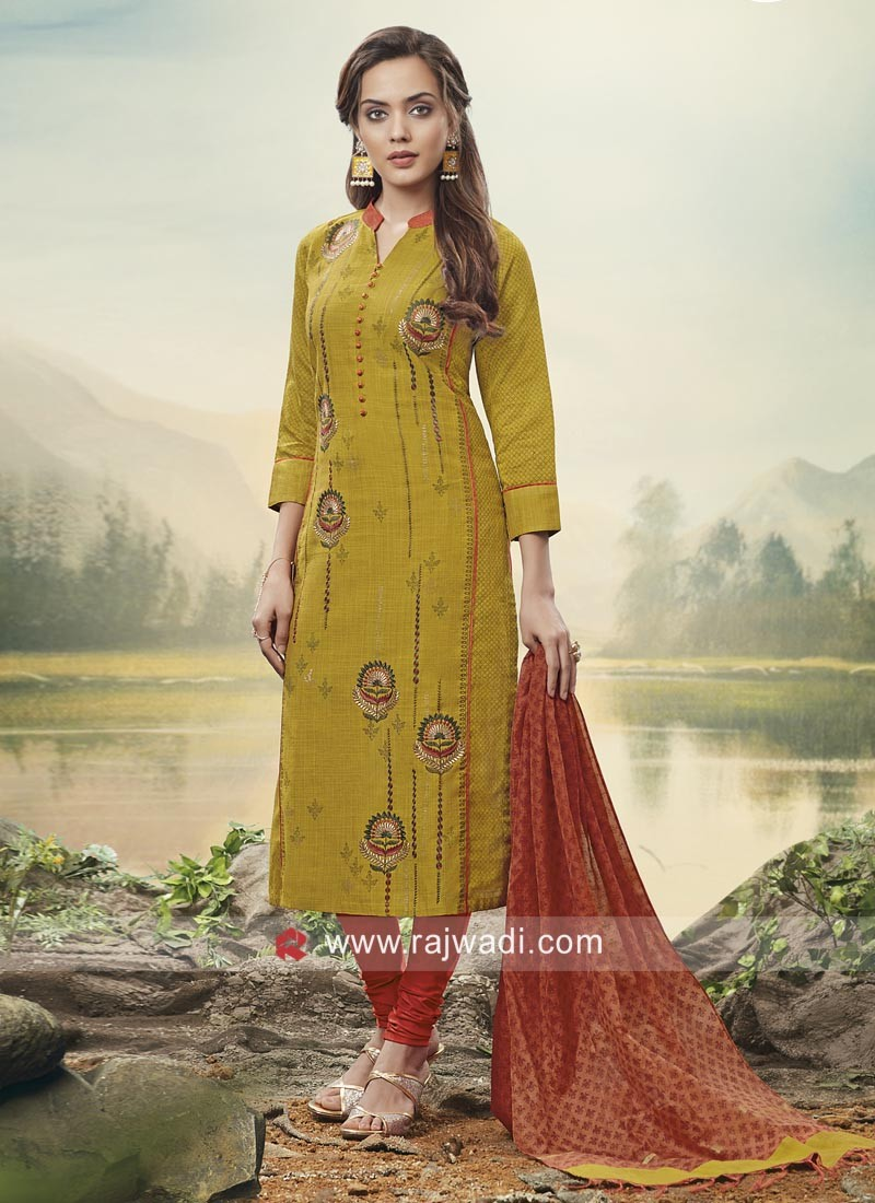 Mehndi Green Straight Suit with Fany Button