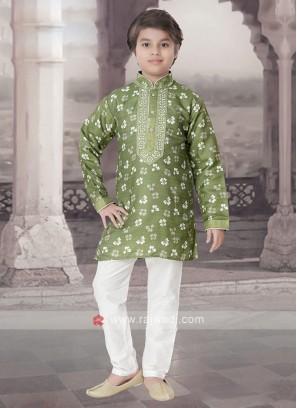 Mehndi Green & White Kurta Pajama