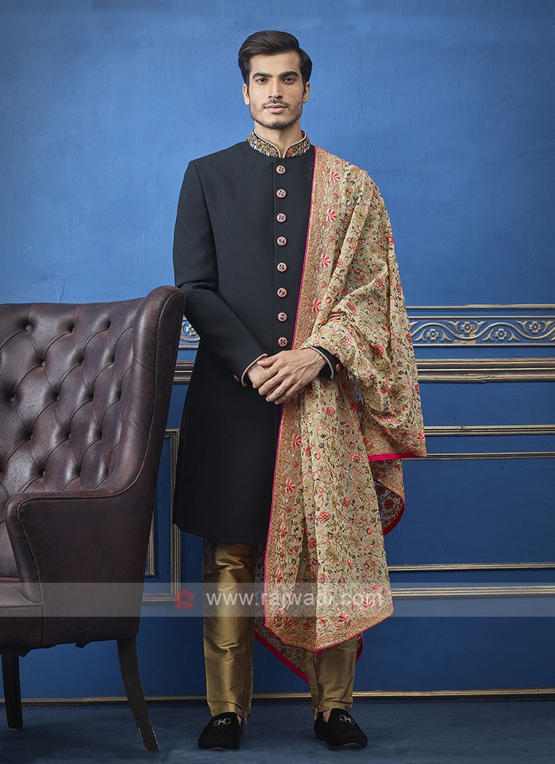 Men Black And Golden Colour Indo-Western With Dupatta