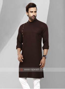 Men Brown Colour Solid Kurta