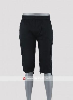 Men black night wear shorts