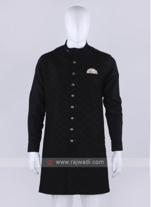 Men Black Printed Kurta