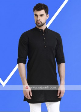 Men Black Solid Kurta