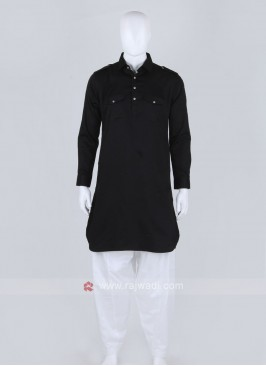 Men Black Solid Pathani Suit