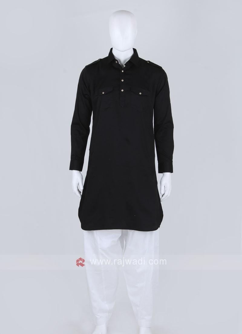Men Black Solid Pathani Suit