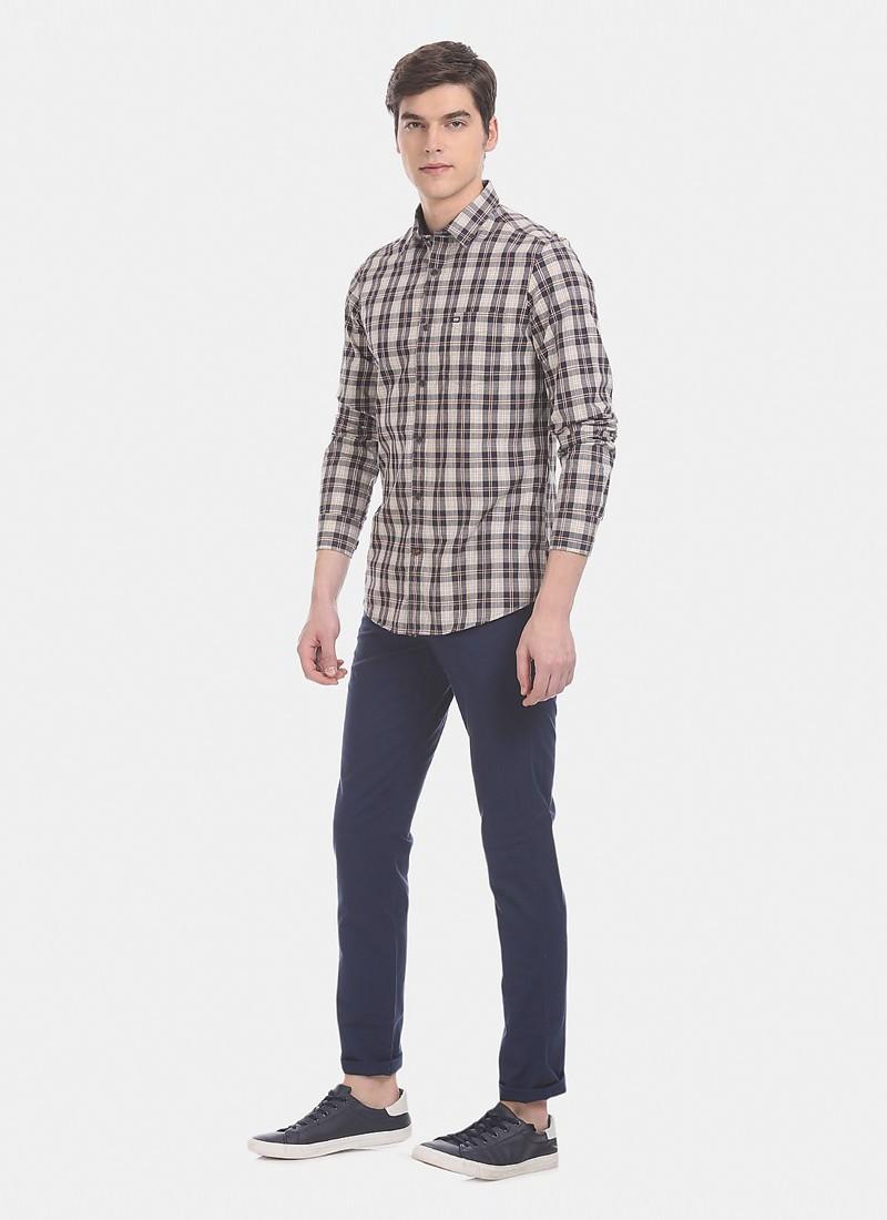 Arrow Men Blue Chrysler Slim Fit Low Waist Trousers
