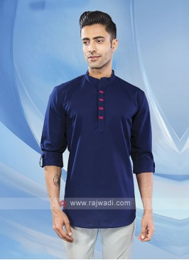 Men Blue Solid Short Kurta