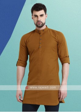 Men Brown Solid Kurta