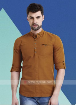Men Brown Solid Short Kurta