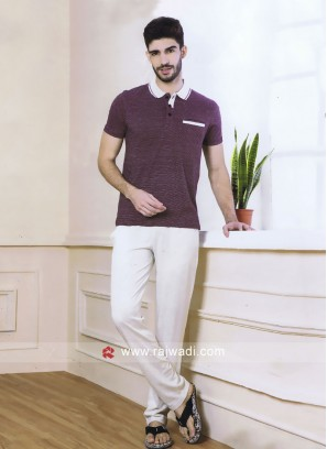 Men burgundy and light grey night suit