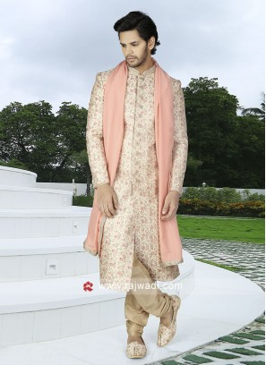 Men Cream Color Sherwani With Stole
