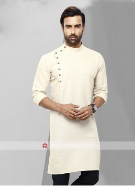 Men Cream Colour Solid Kurta
