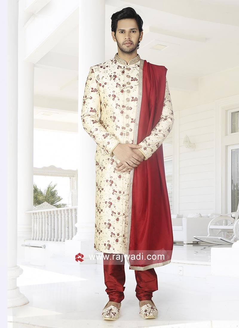 Men Cream-Maroon Color Sherwani With Stole