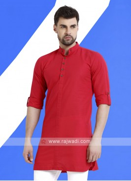 Men Crimson Red Colour Solid Kurta