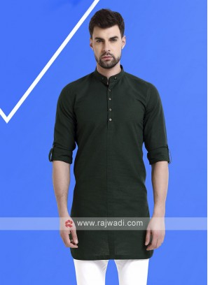 Men Dark Green Solid Kurta