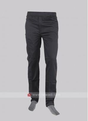 Men dark grey cotton track pants