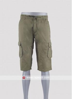 Men dark khaki color cotton shorts