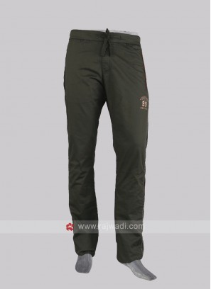 Men dark olive cotton track pants