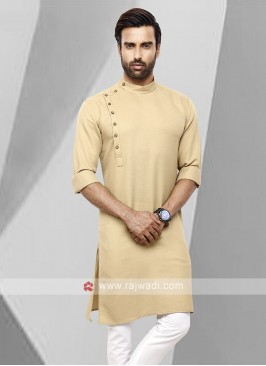 Men Fawn Colour Solid Kurta