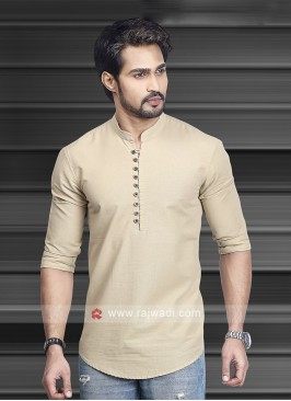 Men Fawn Solid Short Kurta