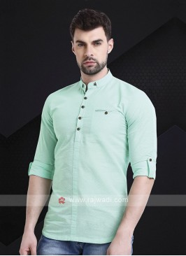 Men Firozi Green Solid Short Kurta